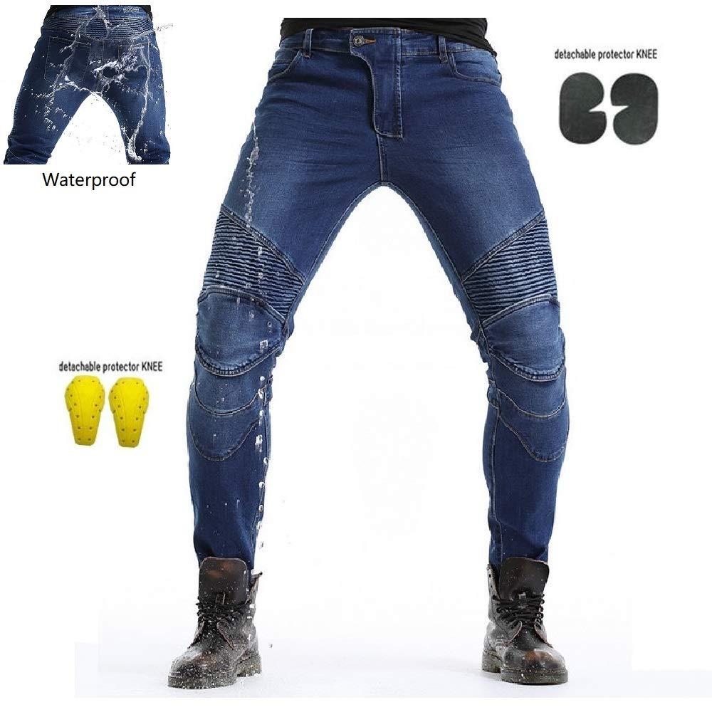 Uomo Moto Biker Jeans Pantaloni da Moto Impermeabili Rinforzato Protezione Includono Armature Motorcycle Pants blu, XL=34 95cm Waist
