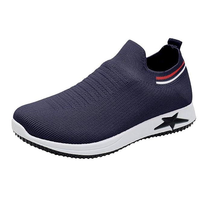 Mujer Zapatillas Sin Cordones De Malla Transpirable Elastico Zapato Deporte con Plataforma En Suelas Cómodas Ligero Sneaker para Correr Gimnasio Fitness ...