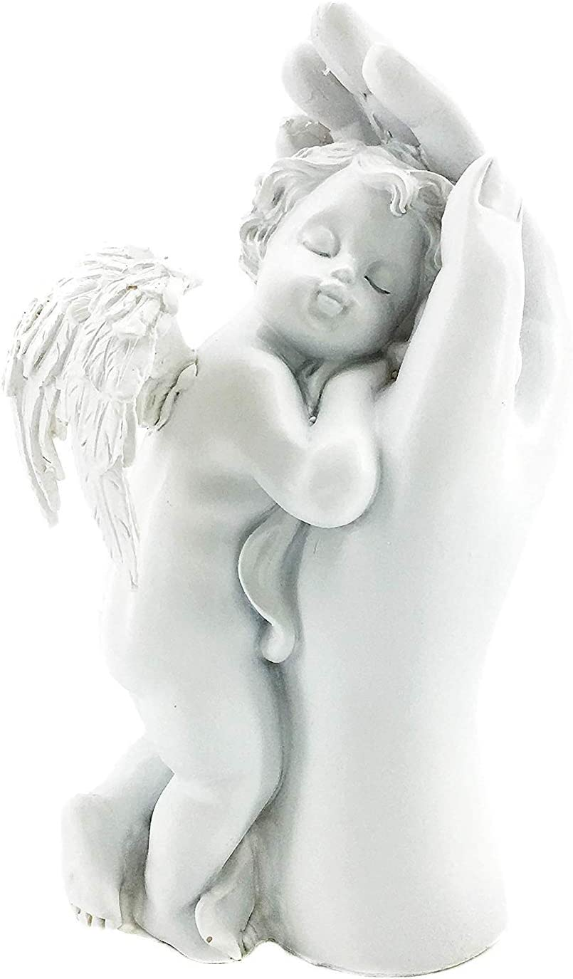 Bellaa 29875 Memorial Cherub Mother Hand Baby Angel Statues Figurines Loves Cupid Angel Home Decor