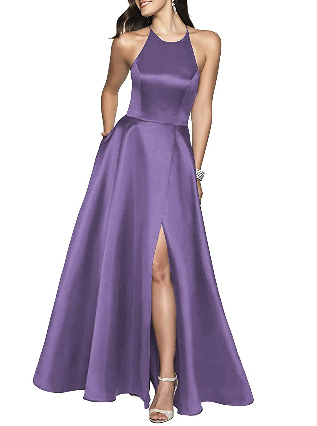 Chalk purple YUSHENGSM Women's High Neck Satin Long Prom Dresses for Women Formal Evening Party Gowns
