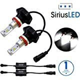 SiriusLED 8000 Lumens Extremely Bright Philips Lumiled ZES Chip 50W LED Bulbs Conversion Kit for Car Headlights Fog Lights DRL H11 H8 6000K Xenon White