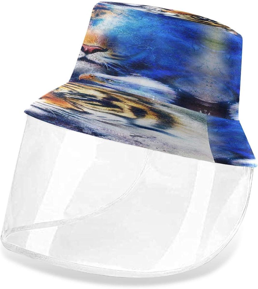 ALARGE - Gorro protector de pescador abstracto con águila tigre, anti polvo, sol, UV, con máscara de protección facial extraíble para hombres y mujeres al aire libre
