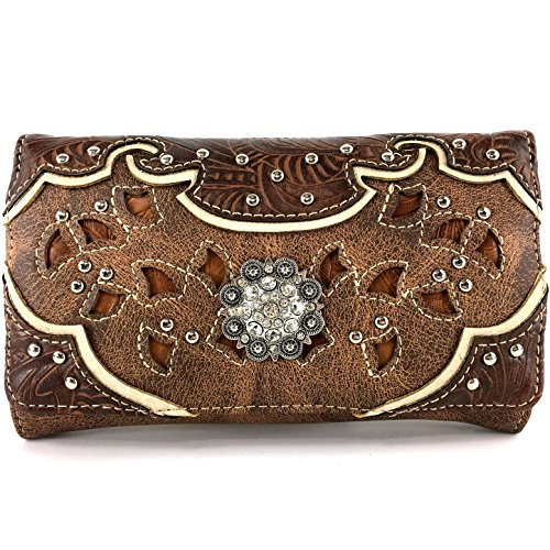 Western Womens Wallets - Justin West Rhinestone Concho Western Laser Cut Wristlet Trifold Wallet Attachable Long Strap (Brown)
