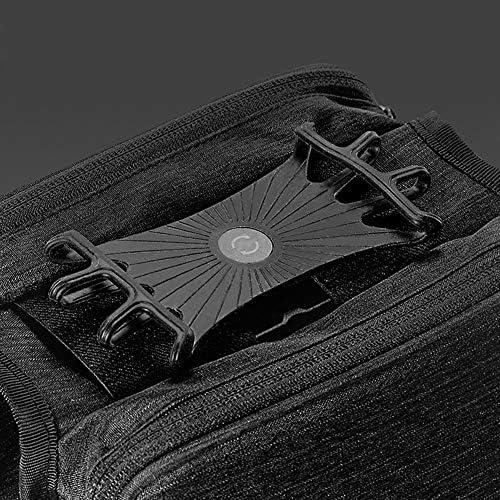 自転車バッグ 自転車トップチューブバッグ フレームバッグ 携帯電話のホールダーが付いているバイクの上の管袋のバイクの前部フレーム袋 適用 旅行/アウトドア/スポーツ/遠足など (Color : Black, Size : 19*11*4cm)