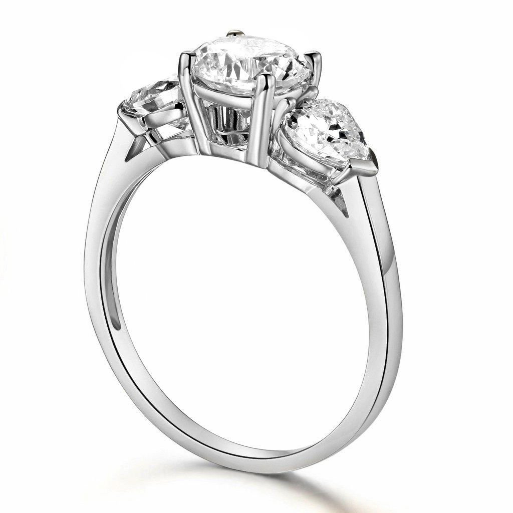 Paradise Jewelers 14K Solid White Gold Cubic Zirconia Round Cut Wedding Engagement Ring with Heart Side Stones, Size 6.5 by Paradise Jewelers Ring Collection (Image #3)