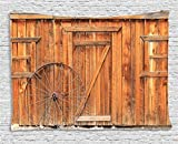 Ambesonne Western Decor Collection, Ancient West Rural Town Rustic Weathered Wooden Wall Door Wagon Wheel in Front Image, Bedroom Living Room Dorm Wall Hanging Tapestry, 80 X 60 Inch Review