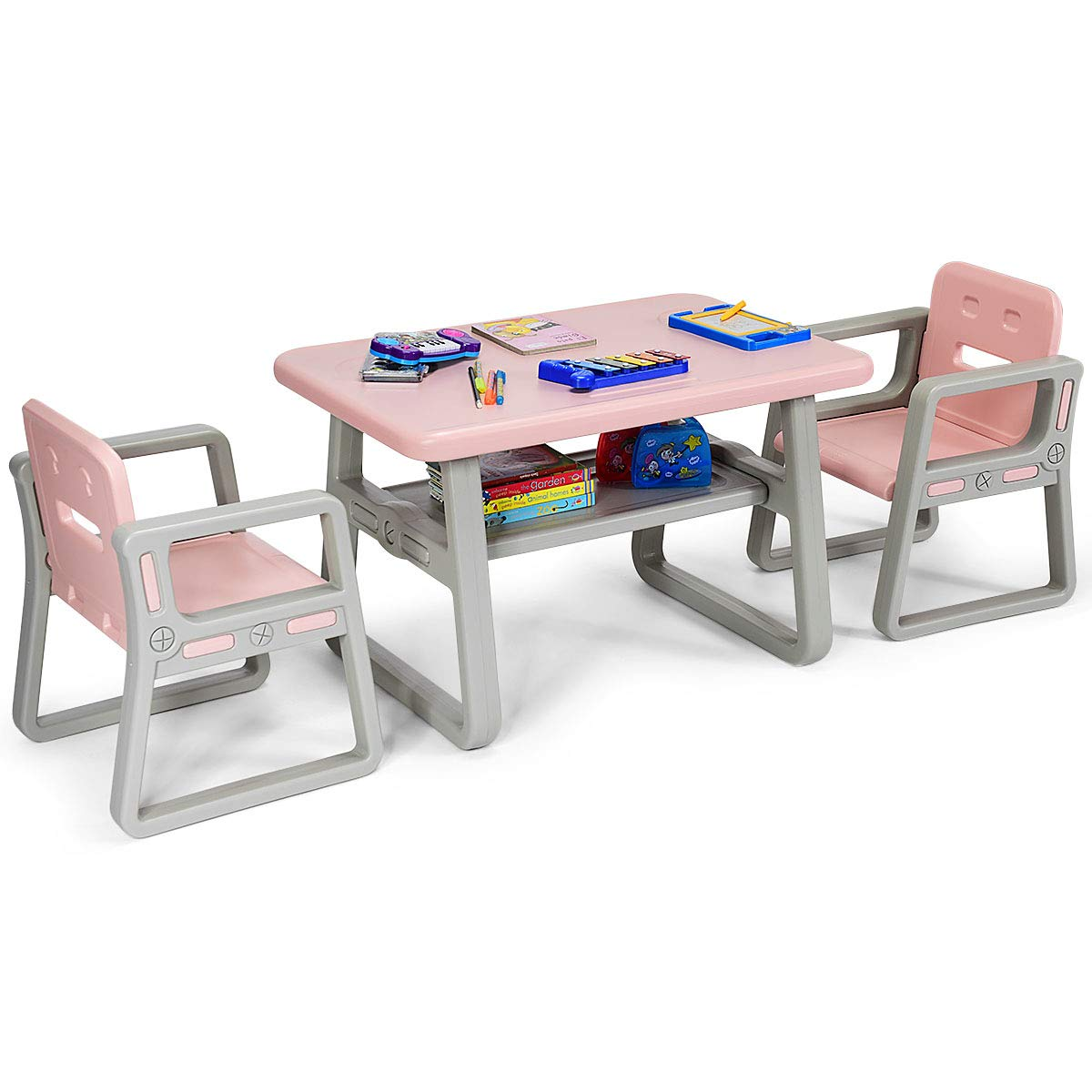 Costzon 3 Piece Kids Table and 2 Chairs Set, Learning Activity Play Table, Baby Dining Table, Children Desk Chair for 1-3 Years, Kids Furniture Set (Pink) by Costzon (Image #9)