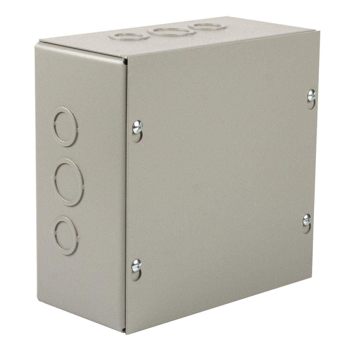 Wiegmann SC121806 SC-Series NEMA 1 Screw Cover Wallmount Pull Box with Knockouts, Painted Steel, 18'' x 12'' x 6''