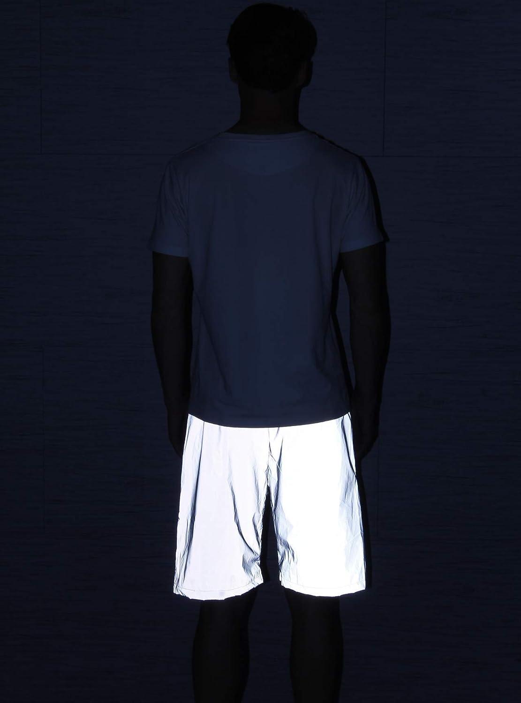 NewL Pantalones Cortos Reflectantes para Hombre Gris