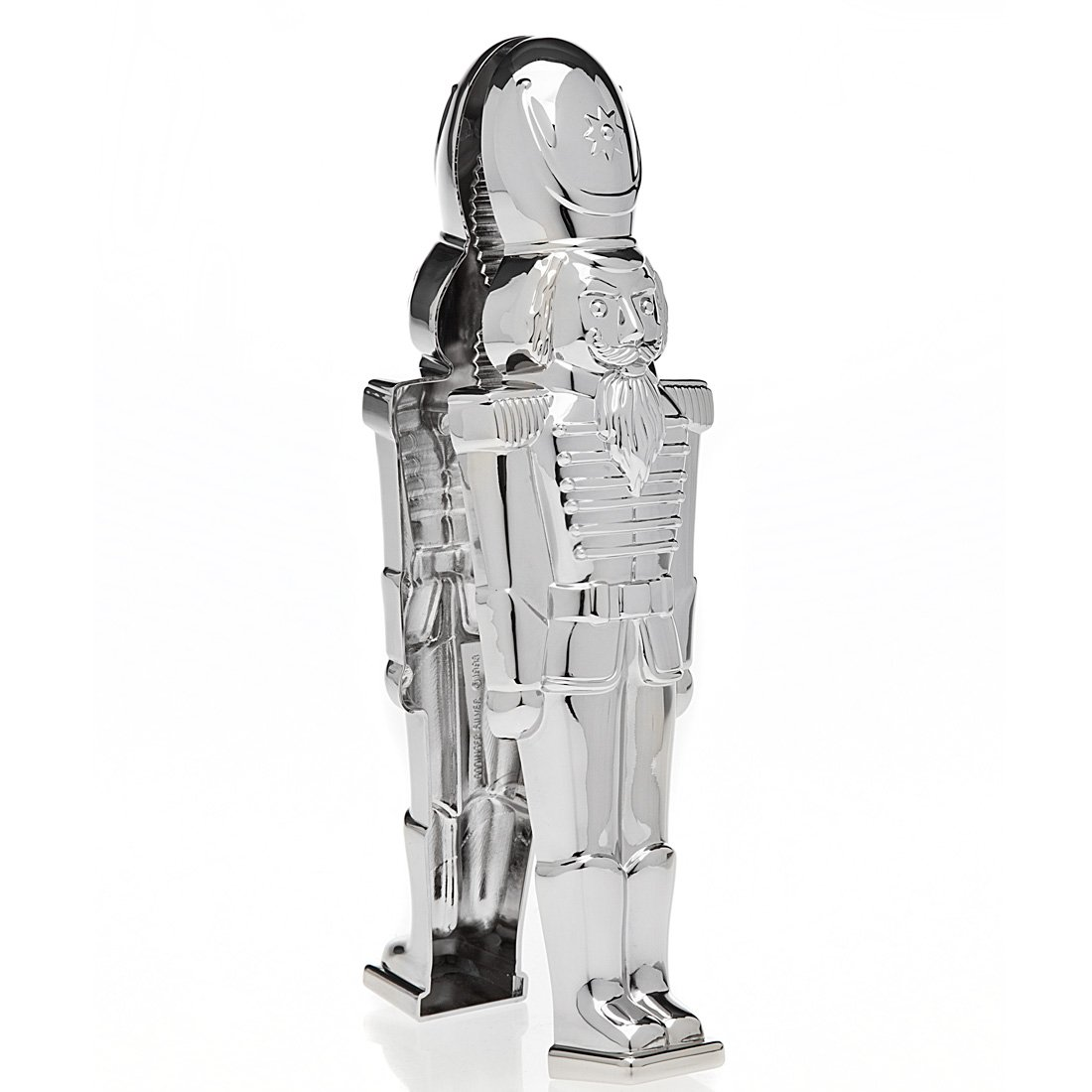 Godinger New And Exclusive Traditional Soldier Stainless Steel Christmas Nutcracker, Festive Holiday Décor- The only nutcracker figure that cracks nuts-Perfect gift item, comes in a beautiful gift box by Godinger