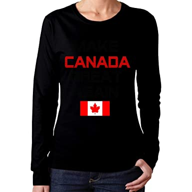 2dc74bed255 Make Canada Great Again Long Sleeve Crew Neck Tops Custom Solid Color Shirt  Top for Women s