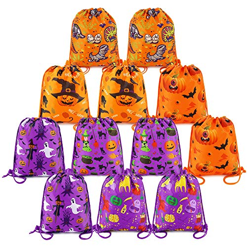 BeeGreen Halloween Treat Bags for Trick or Treat , Halloween Party Supplies Favor Bags Drawstring Goody Bags for Kids Boys and Girls (12 Pack) -