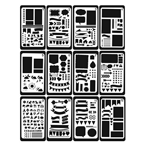Creations Calendar Kit (Bullet Journal Stencils 12 Pcs 7 x 4 Inch Plastic Making Greeting Cards Journal Diary Notebook Graffiti Painting Scrapbook Diy Drawing Craft Projects)