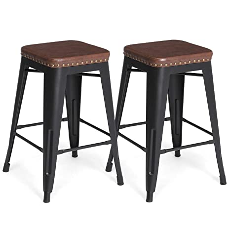 SONGMICS Bar Stools, PU Upholstery Bar Chairs, Stackable Kitchen Stools, 24  Inches Counter Height, Set of 2 Breakfast Stools, No Assembly Required, ...