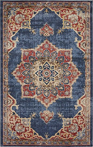 Unique Loom Utopia Collection Traditional Medallion Vintage Warm Tones Dark Blue Area Rug (5' 0 x 8' 0)
