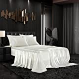 AiMay 6 Piece Satin Bedding Sheet Set Queen Off White Deep Pocket 1800 Series Luxury Rich Silk Silky Super Soft Solid Color 4