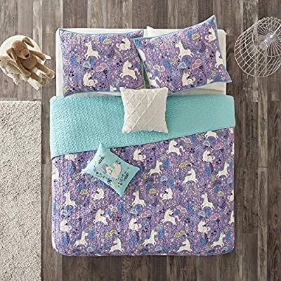 Urban Habitat Kids Lola Twin/Twin XL Bedding for Girls Quilt Set - Purple, Aqua, Unicorns – 4 Piece Kids Girls Quilts – 100% Cotton Quilt Sets Coverlet: Home & Kitchen