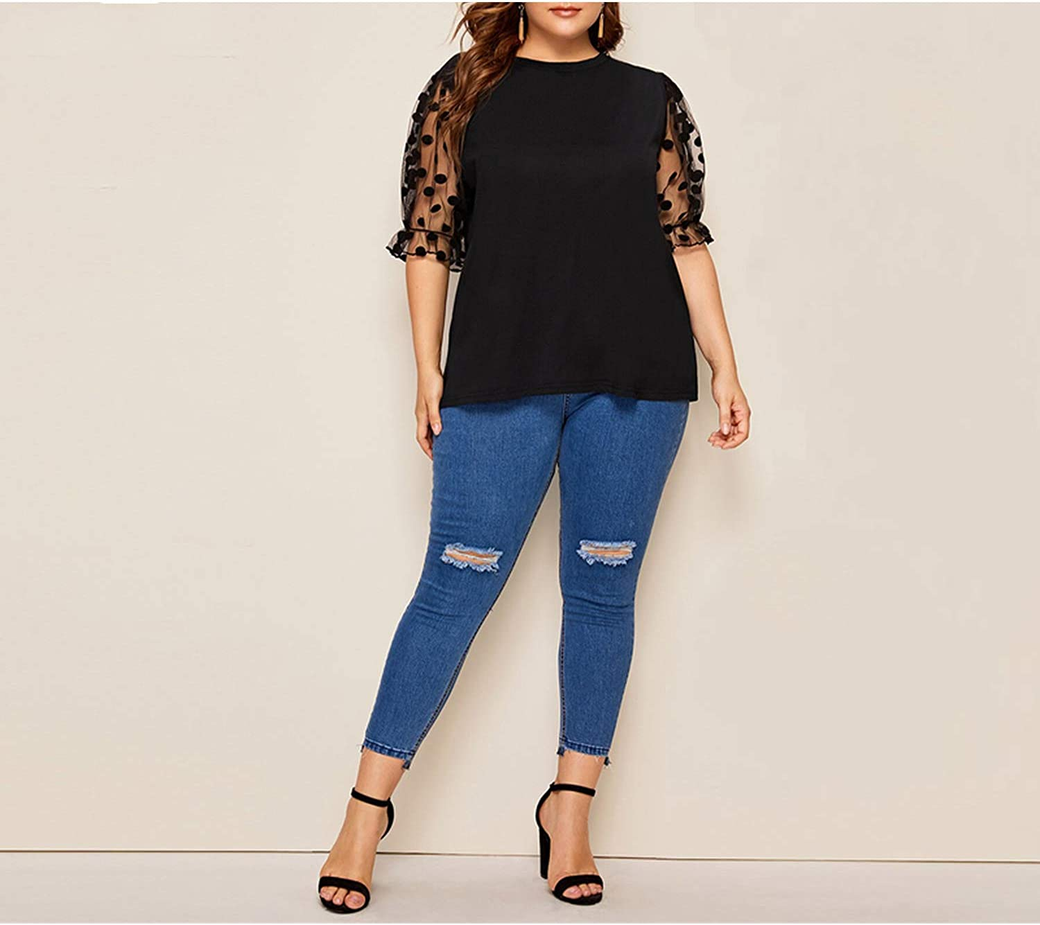 Plus Size Black Polka Dot Patchwork Puff Sleeve Tee Women 2019 Summer Casual Half Solid Top-in T