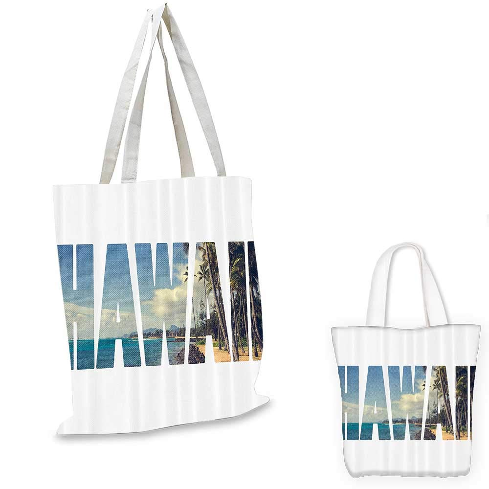 12x15-10 Hawaiian Decor canvas messenger bag Word Hawaii with Tropical Island Photo Exotic Popular Places Palm Forest by Ocean canvas beach bag Blue and Green