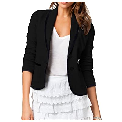 Abetteric Women's 2 Button Sexy Fitted Career Solid Color Suit Black 3XL