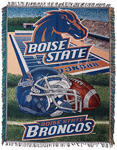 Officially Licensed NCAA Boise State Broncos Home Field Advantage Woven Tapestry Throw Blanket, 48