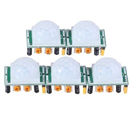 Emy 5 x HC-SR501 Ajuste IR piroeléctrico infrarrojo PIR Motion Sensor Detector módulos