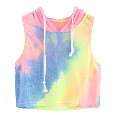 bde8b87f654 Crop Top Hoodie, Teens Women's Summer Sleeveless Tie-Dye Print Hooded Tank  Top Vest