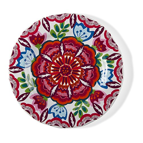 tag - Talavera Melamine Salad Plate, Durable, BPA-Free and Great for Outdoor or Casual Meals, Apricot (Set Of 4)