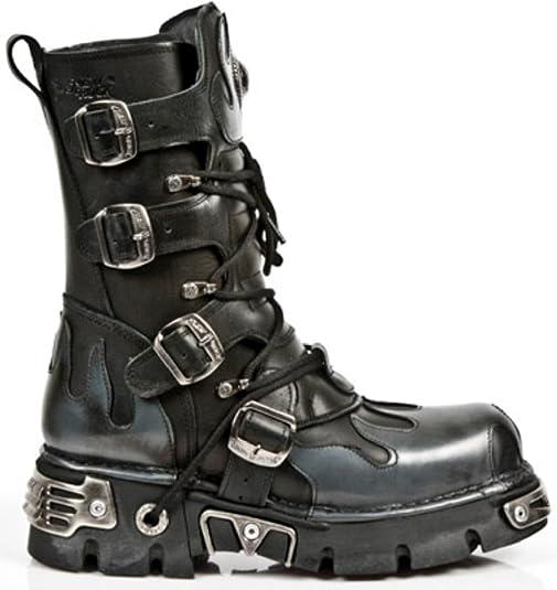 New Rock 391-S1 Unisex Black Metallic Reactor Goth Rock Biker Boots