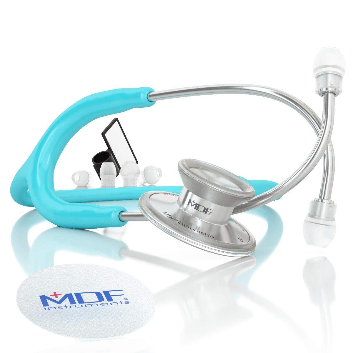 MDF Instruments Acoustica Deluxe MDF747XP03, Estetoscopio ligero de doble cabeza, Azul pastel (Pastel Blue)
