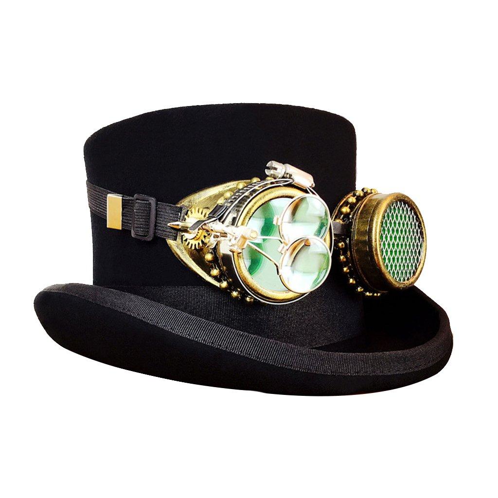 MagiDeal Unisex Kostüme Hut Mit Brillen und zwei runden Lupe Mode Hut - Schwarz - L B0743FTV21 Hüte & Kopfbedeckungen für Erwachsene Lass unsere Waren in die Welt gehen | Eleganter Stil