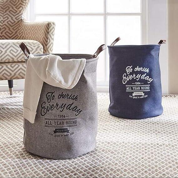 Gran Cesta de lavandería de Lino de algodón Impermeable/cesto de ...