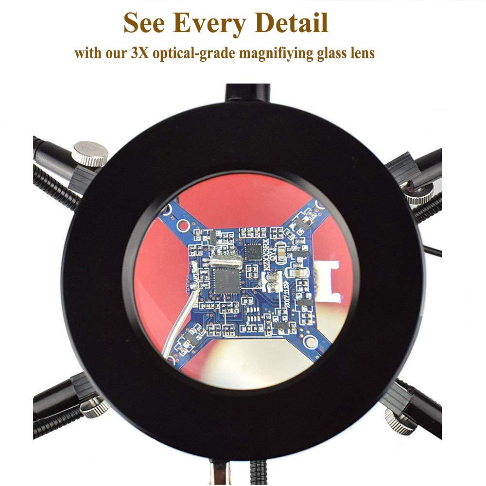 NEWACALOX Tercera estaci/ón de soldadura de mano con lente de aumento 3X Manos de ayuda rotativas flexibles de 360 /°
