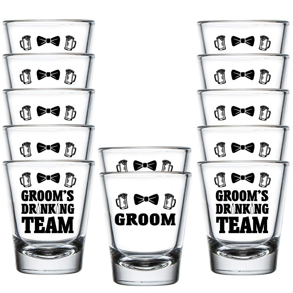 Shop4Ever Groom and Groom's Drinking Team Bow Tie Shot Glasses ~ Bachelor Party Favors ~ (12 Pack, DT Bow Tie) by Shop4Ever
