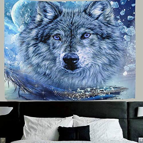 WellLee Wolf wall decor Art Winter Snowflake Wolf Fabric Tapestry