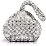 Mogor Women's Triangle Bling Glitter Purse Crown Box Clutch Evening Luxury Bags Party Prom Silver