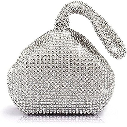 Glitter Purse - Mogor Women's Triangle Bling Glitter Purse Crown Box Clutch Evening Luxury Bags Party Prom Silver