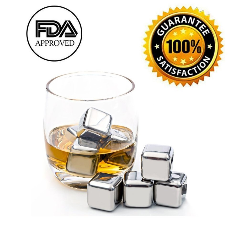Whiskey Stones Reusable Chilling Stainless Steel Ice Cubes Gift Set for Scotch Whisky, Tequila,Vodka, Liqueurs, White wine , pack of 8