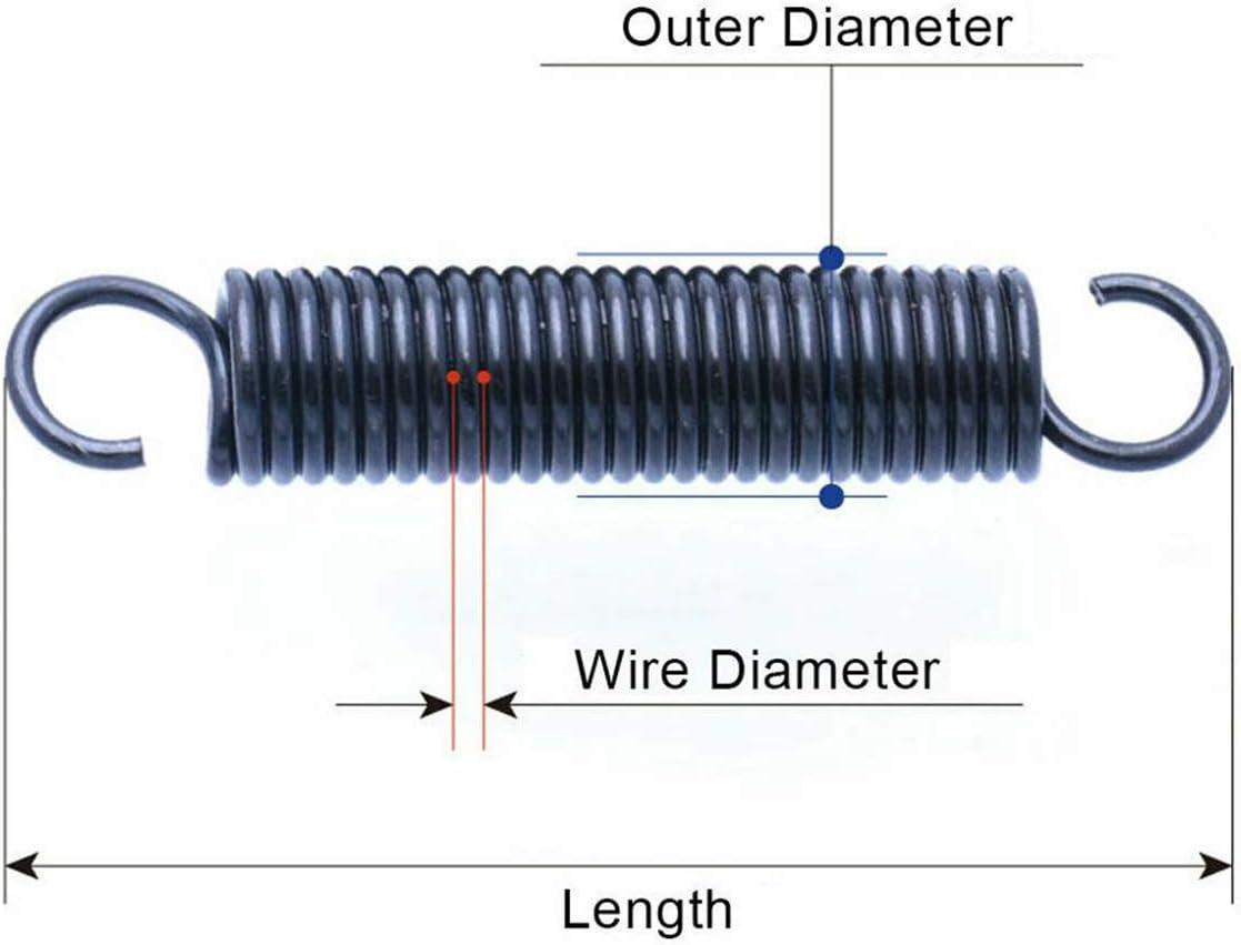 2pcs tensi/ón del resorte con los ganchos de alambre de acero de 1,5 mm de di/ámetro peque/ña extensi/ón del muelle externo Di/ámetro 15 mm Longitud de 40-100mm 1,5 x 15 x 100 mm