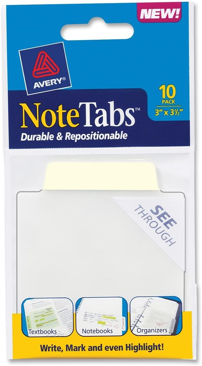 Avery NoteTabs 10 per pack 3 x 3.5 Inches Pastel Yellow 16326
