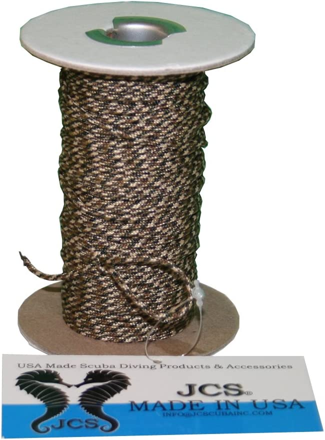 JCS High Strength, No Stretch Kevlar Lined Cord, Camouflage, Speargun or Reel Line, 100 Feet Spool
