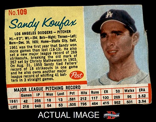 1962 Post Cereal # 109 RED Sandy Koufax Los Angeles Dodgers (Baseball Card) (Has thin Red Lines around stats) Dean's Cards 2 - GOOD Dodgers