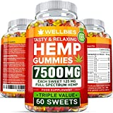 Hemp Gummies 7500 MG - Ultra Strong & Tasty - 125 MG Hemp in Each Gummy, 60 Sweets - Premium Hemp Extract - Made in USA - Pain, Anxiety & Stress Relief - Sleep & Mood Balance - Rich in Omega 3, 6, 9