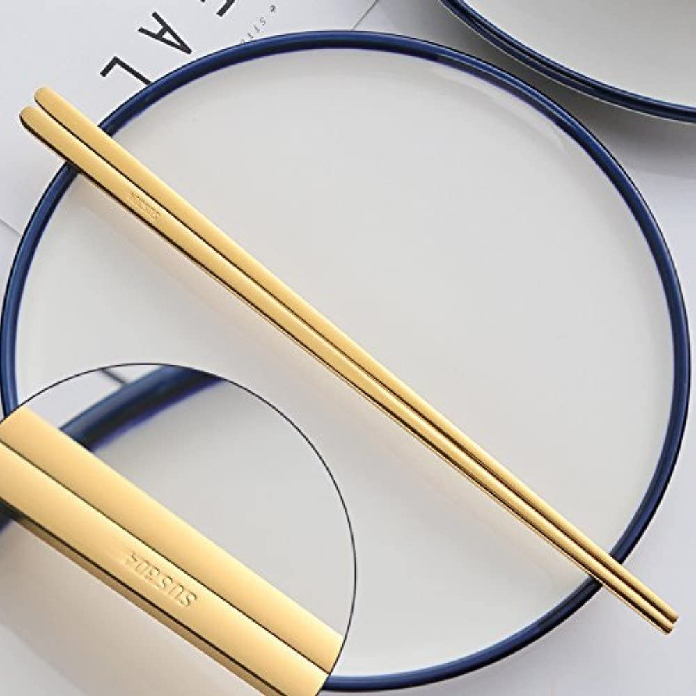 Buyer Star 5 Paar Essst/äbchen Gold Metall Wiederverwendbar St/äbchen L/änge 22,9 cm Edelstahl 18//10 Hochglanzpoliert Chopsticks