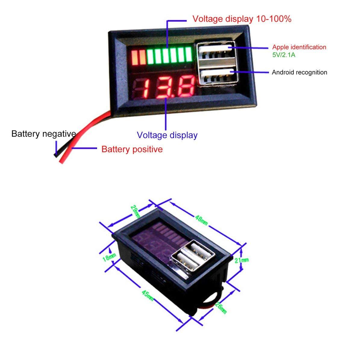Color: Rojo Pantalla digital LED Volt/ímetro Medidor de voltaje Volt Tester Dual USB 5V 2A para DC 12V Coches Motocicletas Veh/ículos Capacidad de la bater/ía