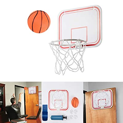 FINA Mini Wall Basketball Over The Door Basketball Hoop Indoor Toys Set, Basketball Hoop Indoor Hanging Basketball Frame No Punching Plastic Basketball Toy, for Kid Education Play, Basketball Lovers: Clothing