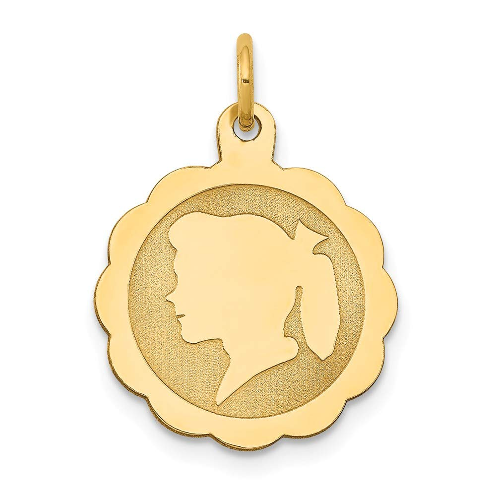 21mm x 4mm Solid 14k Yellow Gold Girl Head on .018 Gauge Engravable Scalloped Disc Charm Pendant