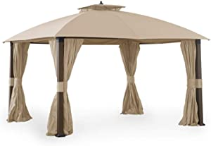 Garden Winds Replacement Canopy Top Cover for Broyhill Eagle Brooke Gazebo - Riplock 350 - Beige