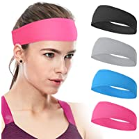 Xcellent Global 4 Pack Sweat Headbands Elastic Wide Head Wraps Sports Hair Bands Unisex for Workout Gym Fitness Yoga…
