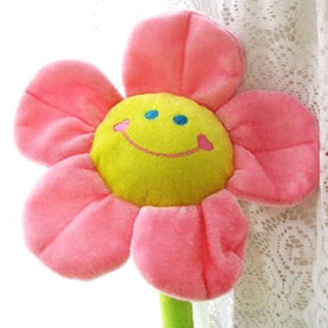 Hinmay Paquete de 2 cortinas de flor de sol de peluche con hebillas para decoración de